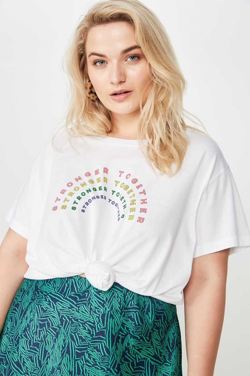 Cotton On Women - Curve Graphic Tee - Stronger together/white - Cotton On - GOOFASH