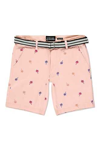 Drill Clothing Belted Palm Tree Print Shorts at Forever 21  Pink GOOFASH 2000264227019