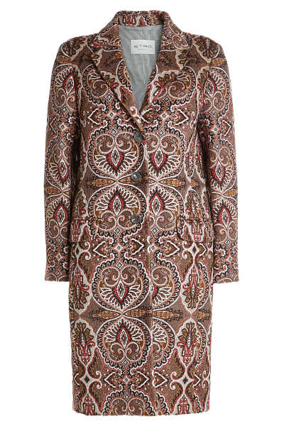 Etro Printed Coat with Wool and Mohair GOOFASH 289541