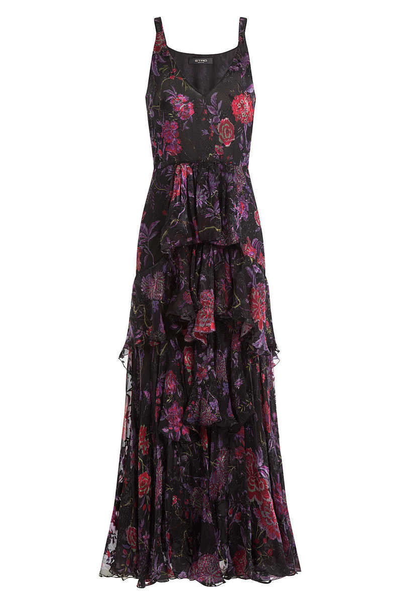 Etro Silk Floral Print Tiered Dress GOOFASH 257221