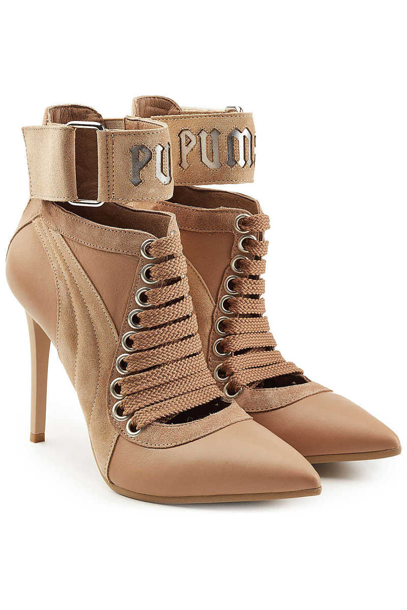 FENTY Puma by Rihanna Lace Up Stiletto Boots with Leather and Suede GOOFASH 269456