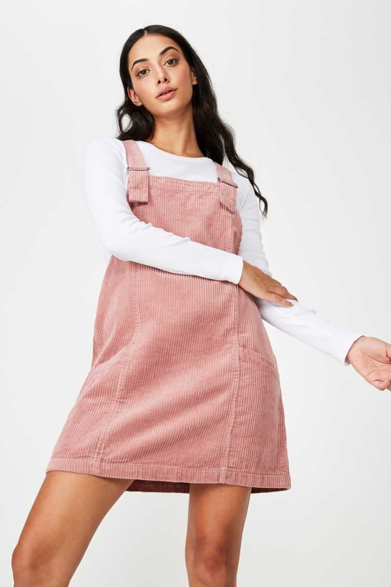 Factorie - Cord Overall Dress - Dusty pink - Cotton On - GOOFASH