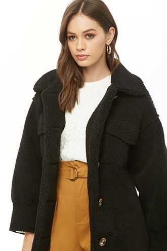 Faux Shearling Button-Front Coat at Forever 21  Black GOOFASH 2000291437024