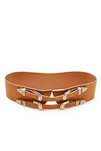 Forever 21 BTB Wide Faux Leather Belt Rust/gold GOOFASH 2000147978021
