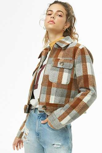 68f39d6746 Forever 21 Brushed Plaid Jacket Grey cream GOOFASH 2000306072024