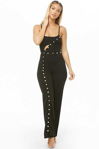 b8a06bf611ba2 Forever 21 Button-Front Cutout Cami Jumpsuit Black GOOFASH 2000326444014