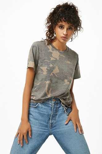 Forever 21 Camo Pocket Tee Olive GOOFASH 2000254799033