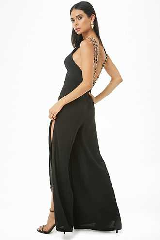 369d5bb354ed4 Forever 21 Chain-Strap Palazzo Jumpsuit Black GOOFASH 2000320348024