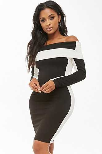 dbacd9bf7d4 Forever 21 Colorblock Off-the-Shoulder Bodycon Dress Black white GOOFASH  2000314469012