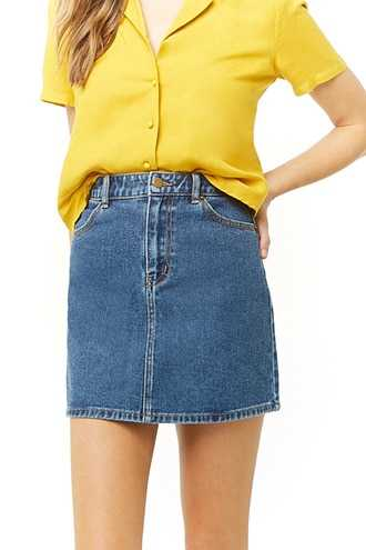 Forever 21 Denim Mini Skirt Medium Denim GOOFASH 2000331028062