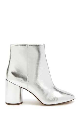 Forever 21 Faux Leather Ankle Boots  Silver GOOFASH 2000291418023