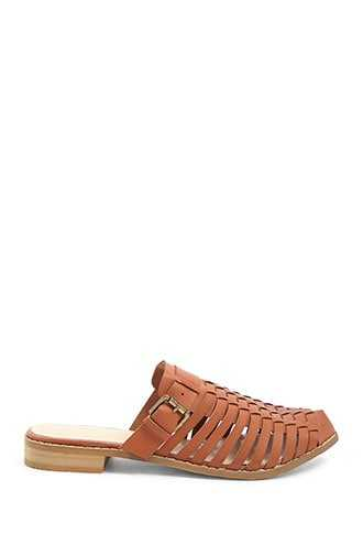 Forever 21 Faux Leather Caged Mules Tan GOOFASH 1000357434020