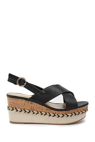 Forever 21 Faux Leather Crisscross Wedge Sandals Black GOOFASH 1000352988019