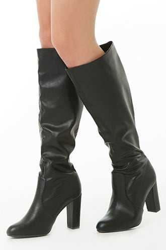 Forever 21 Faux Leather Knee-High Boots  Black GOOFASH 2000340349029