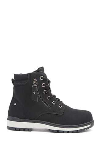 Forever 21 Faux Nubuck Lace-Up Boots  Black GOOFASH 2000339752020