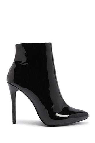 Forever 21 Faux Patent Leather Ankle Boots  Black/white GOOFASH 2000337095017