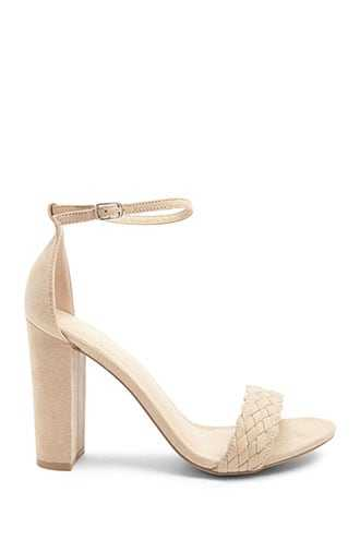 Forever 21 Faux Suede Block Heels  Natural GOOFASH 2000345922029