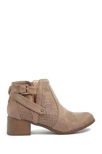 Forever 21 Faux Suede Booties  Taupe GOOFASH 2000348310030