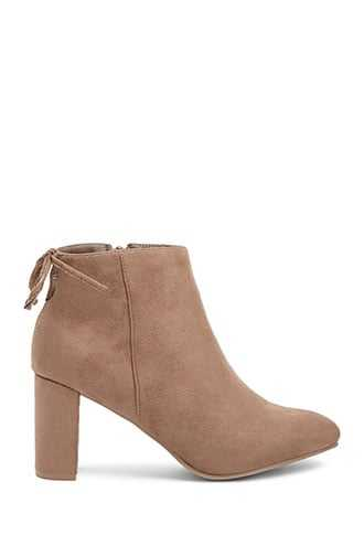 Forever 21 Faux Suede Booties  Taupe GOOFASH 2000351632029