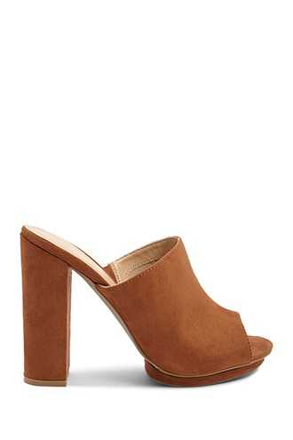 Forever 21 Faux Suede High Heel Mules  Brown GOOFASH 2000324338020