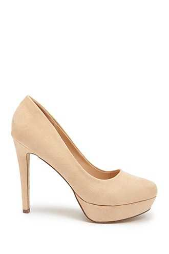 Forever 21 Faux Suede Pumps  Nude GOOFASH 2000326939029
