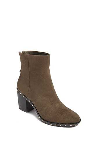 Forever 21 Faux Suede Studded Ankle Boots  Olive GOOFASH 2000145186022