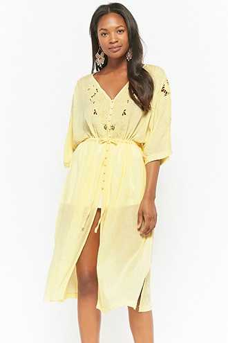 Forever 21 Floral Cutout Button-Front Dress  Yellow GOOFASH 2000286915014