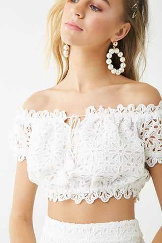 a9e76691a12 Forever 21 Floral Eyelet Off-the-Shoulder Crop Top White GOOFASH  2000344353024