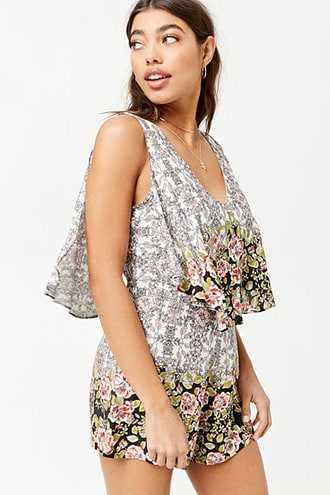 Forever 21 Floral Layered Romper  Black/multi GOOFASH 2000280542012