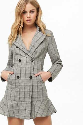 Forever 21 Glen Plaid Double-Breasted Dress Blazer  Grey GOOFASH 2000337473013