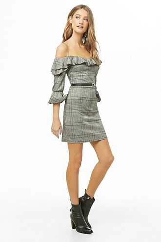 Forever 21 Glen Plaid Open-Shoulder Mini Dress  Grey/black GOOFASH 2000339573014