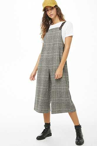 Forever 21 Glen Plaid Tweed Culotte Overalls  Black/brown GOOFASH 2000302410022