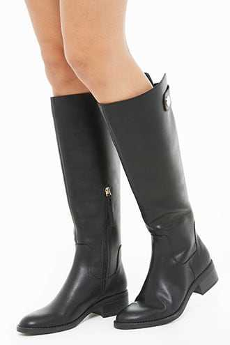 a90bd7181a2 Forever 21 Knee-High Riding Boots Black GOOFASH 2000327393029