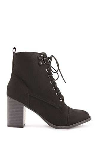 Forever 21 Lace-Up Ankle Booties  Black GOOFASH 2000340212019