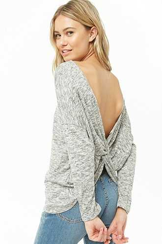 Forever 21 Marled Twist-Back Top  Grey/white GOOFASH 2000351065014