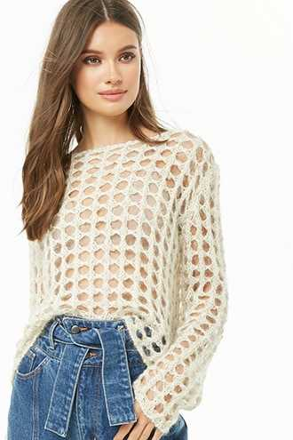 Forever 21 Metallic Open-Knit Top Ivory/gold GOOFASH 2000331500012