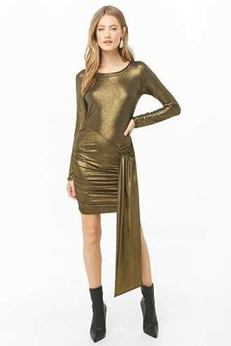 10897b272d9 Forever 21 Metallic Side-Tie Bodycon Dress Gold GOOFASH 2000347212013