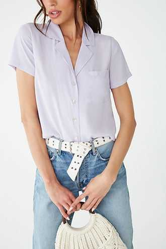 Forever 21 Notched Collar Shirt Lavender GOOFASH 2000332968054