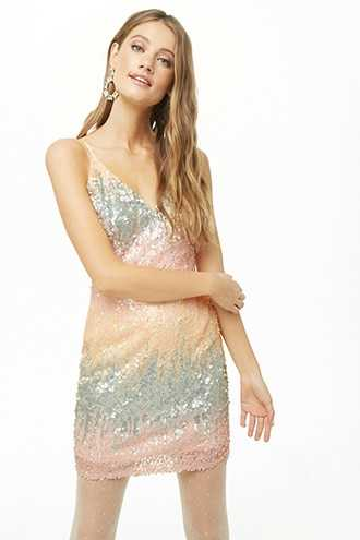be144d500a7 Sale Forever 21 Ombre Sequin Cami Mini Dress Light Pink GOOFASH  2000335900014