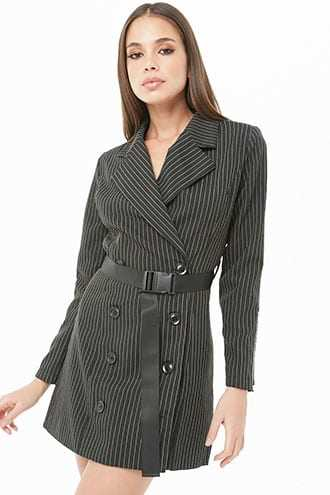 Forever 21 Pinstriped Blazer Dress  Black GOOFASH 2000332170013
