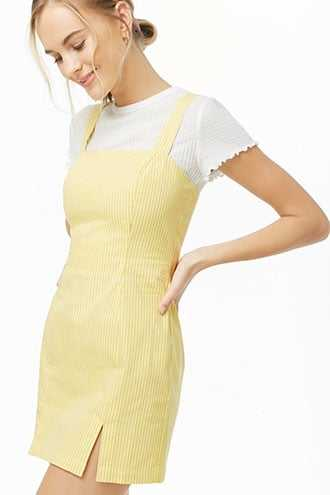 Forever 21 Pinstriped M-Slit Dress Yellow/white GOOFASH 2000336571024