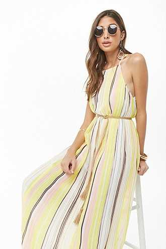 595d15b5eed Forever 21 Pleated Multicolor Striped Maxi Dress Cream multi GOOFASH  2000335374014
