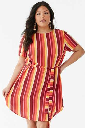 1b4c538f628 Forever 21 Plus Size Belted Striped Dress Pink multi GOOFASH 2000340940034