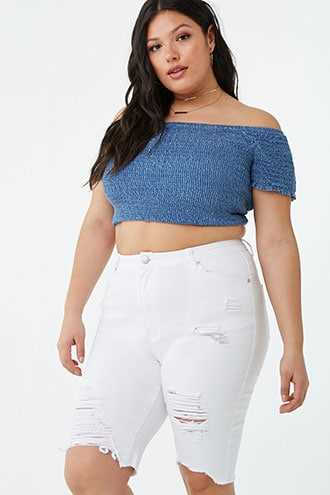 Forever 21 Plus Size Distressed Denim Shorts  White GOOFASH 2000344151014