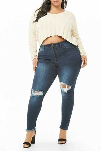 Forever 21 Plus Size Distressed Skinny Jeans  Blue GOOFASH 2000335439014