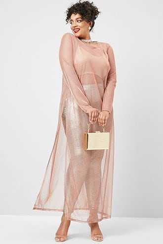 Forever 21 Plus Size Sheer Iridescent Maxi Dress Rose | GOOFASH SHOP