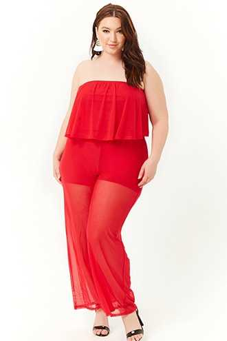 Forever 21 Plus Size Sheer Mesh Flounce Tube Jumpsuit  Red GOOFASH 2000305024034