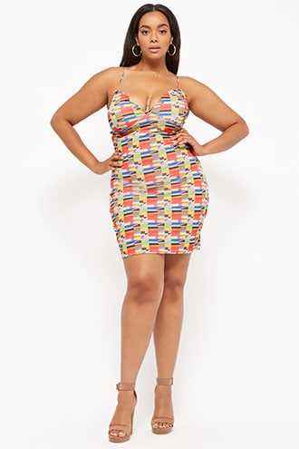 c42c5f899e8 Forever 21 Plus Size Tribal-Inspired Cami Mini Bodycon Dress Red multi  GOOFASH 2000296686014