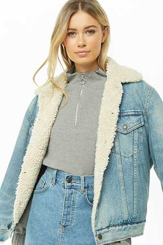 Forever 21 Pull-Ring Waffle Knit Top Charcoal Heather GOOFASH 2000311785014
