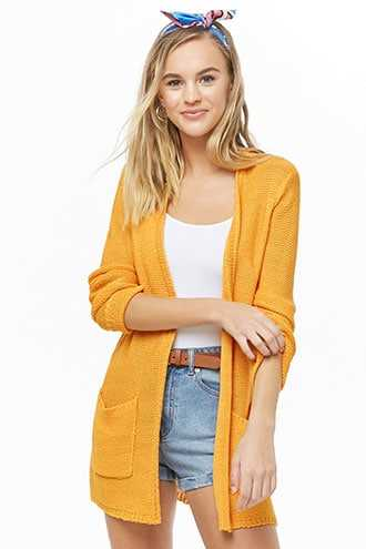 Forever 21 Purl-Knit Open-Front Cardigan  Yellow GOOFASH 2000333633064
